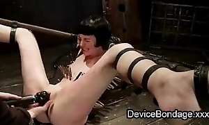 Strapped zippered babe pussy finger fucked and vibed