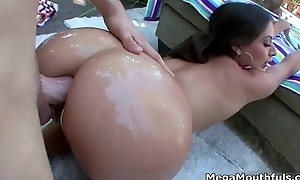 Beautiful big oiled up ass gets fucked