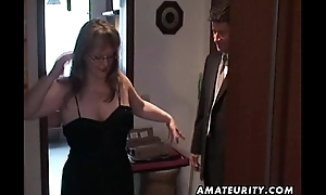 Busty amateur Milf sucks and fucks with cum on high tits