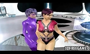 Hot colored hair 3D lesbians ride a sex tool