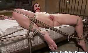 Bound bdsm bitch muff toyed