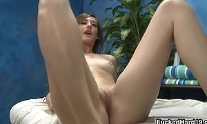 Midget brunette babe gets fucked hard