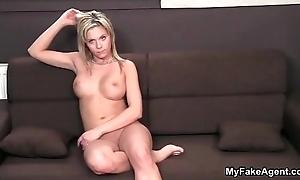 Blue blonde babe gets horny sucking