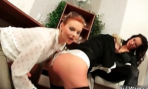 Dirty blonde slut gets the brush pussy pounded