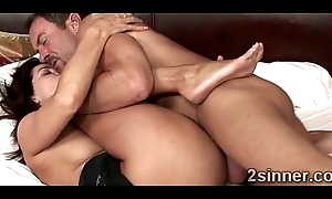 Brunette MILF gets her pussy smashed by her husbands rout friend