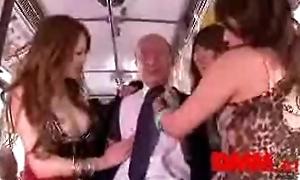 3 Japanese girls molest old man on bus (dmm.co.jp)