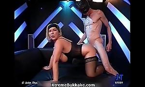 Busty blonde slut goes crazy engulfing