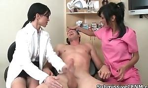 Hot brunette female doctor jerking off