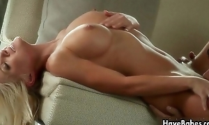 Sexy blonde coddle receives her cum-hole licked