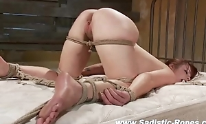 Bound bdsm consequent pussy toyed