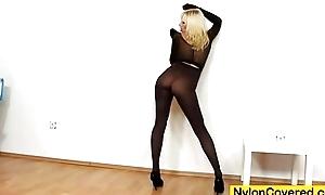 Slutty blonde distorted nylon haziness exposure