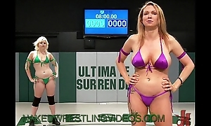 Lesbians denude wrestling and strapon cock anal shagging