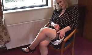 Huge boobs mature lady around slip and nylons