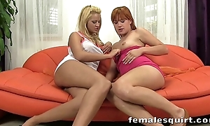 Cherry and Lucy playing with each other until they squirt