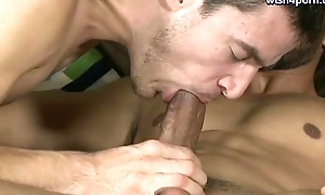Two gays tasting and rubbing their long dicks