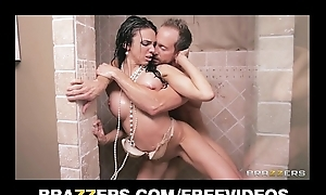 Underclothing clad bride Tiffany Tyler fucked to orgasm in the shower