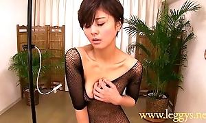 Leggys Dream 4 Japanese girl Miho in black fishnet nylons