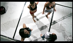 Group of female fighters regarding a break from offing less play
