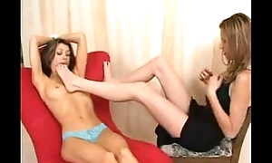 2 sexy brunette foot fetish and venerate