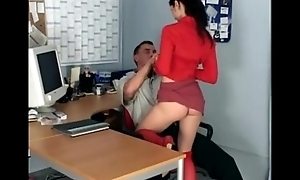 Skinny secretary fucking in knee high stockings