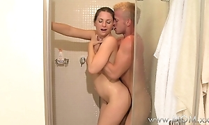 MOM MILF and younger darling have intercourse in the shower