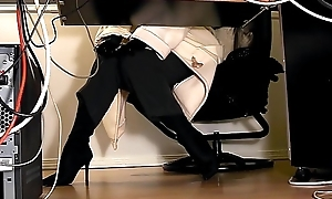 Secretaries under writing-desk shut up shop web camera masturbation