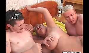 Chubby blonde MILF has smashing threesome