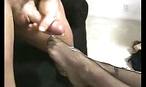 Cum on nylons hands
