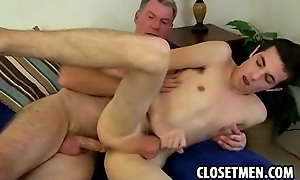 Older handsome man shares his cock with a young twink