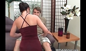 Simmering brunette sucking cock and gets