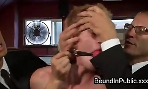Bound gay groped plus gangbang fucked in alert to restaurant during lunch hour