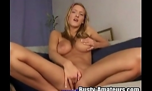 Blonde Ryana is effectuation with the brush own miserly pussy