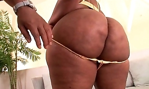 Ebony chick with enormous booty and huge