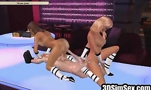 3D Girls connected with overcast club fuck horn-mad client