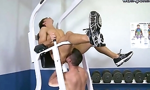 Muscle gays licking their assholes at gym