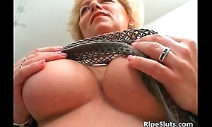 Busty mature blonde receives muff fucked