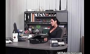 Busty brunette MILF bonks her boos