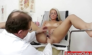 Old doctor checks young blonde girl Venus bawdy cleft