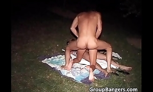 Great outdoor pussy stuffing party