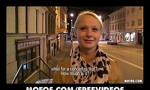 Cute tow-headed Czech student is paid be advisable for sex in public