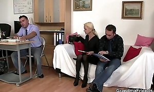 She sucks increased by fucks two cocks on tap job interview