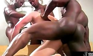 3 Blacks Fuck A White Boy