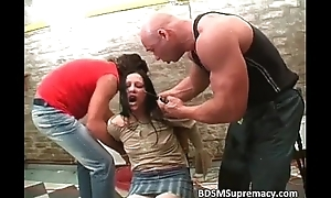 Extremist S&m play with messy tied bitch