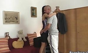 Cheating slut deepthroats and rides his rod