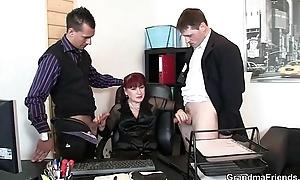 Designation lady pleases three cocks