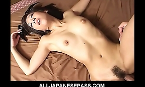 Cute Japanese latex bat attacks horny guys and finds all her holes be full to the