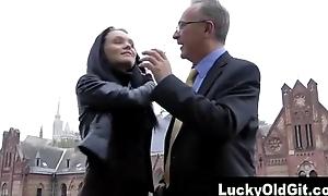 Older British guy meets slut in street
