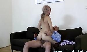 Lucky older British panhandler fucks a marketable blonde