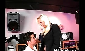 Blonde milf object hardly fucked down her