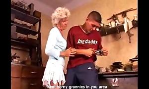 Melancholy granny likes anal